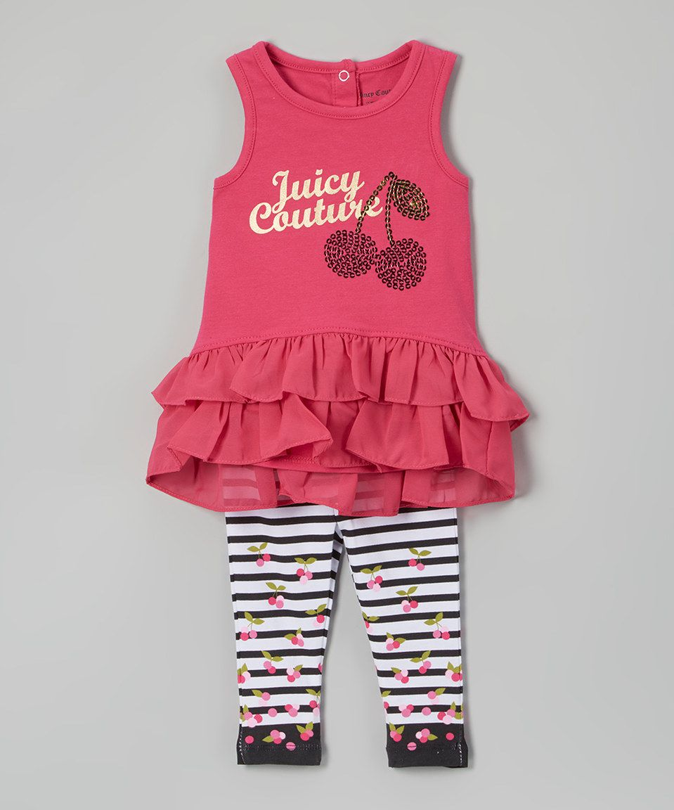 Love this Juicy Couture Fuchsia Cherry Ruffle Tank & Leggings - Infant & Toddler by Juicy Couture on #zulily! #zulilyfinds
