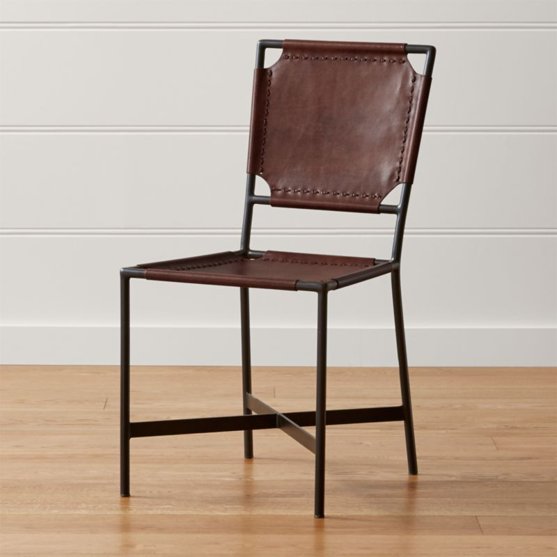 Laredo Brown Leather Dining Chair Reviews Crate And Barrel With Images Metal Dining Chairs Dining Chairs Brown Leather Chairs