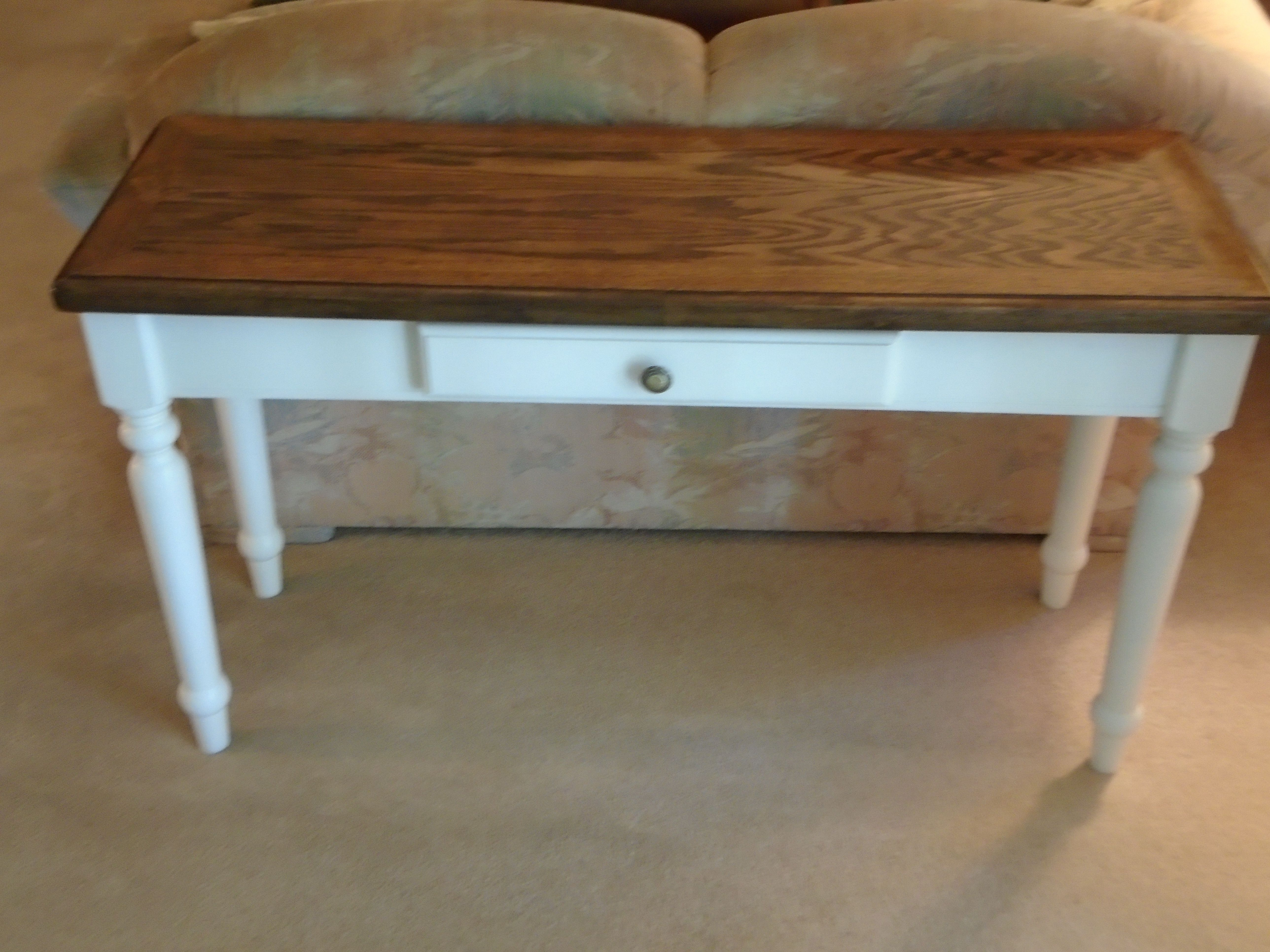 Sofa table entry table console table tan stained top black