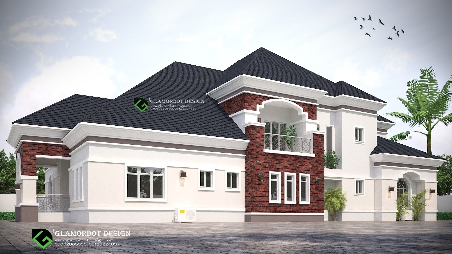 Architectural Design Of A Proposed 5 Bedroom Bungalow With A Pent House Nigeria Bungalow House Plans Duplex House Design House Roof Design