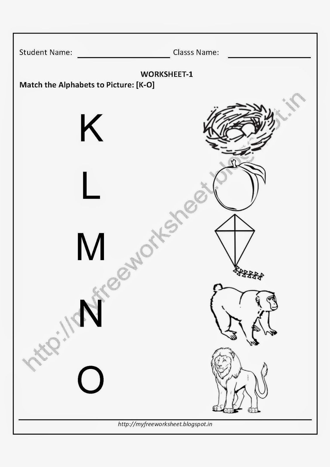 Image result for worksheets of ALPHABETS nursery students
