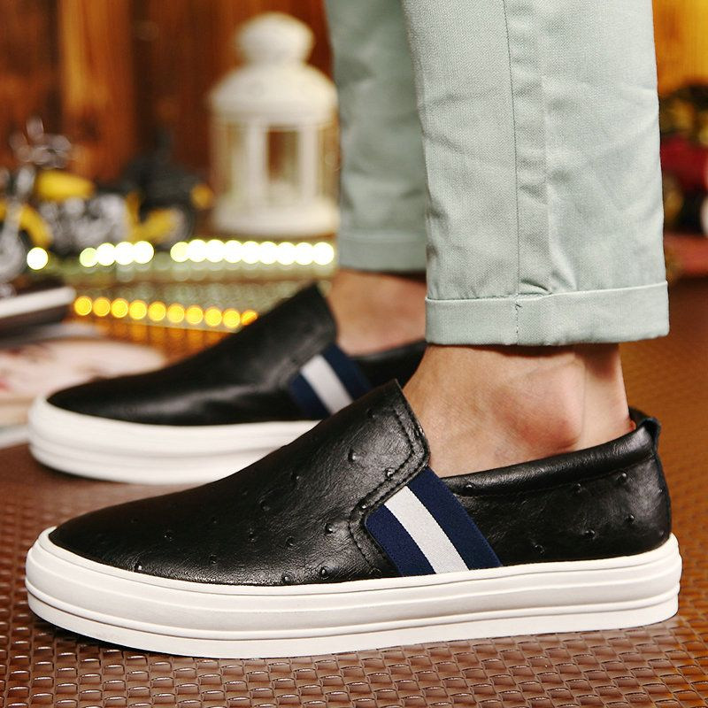 6c84e5c12230e Fashion Mens Leather Moccasin Shoes Male Casual Loafer Platform Chaussure  Homme Size 38 to 44 Black Blue Brown