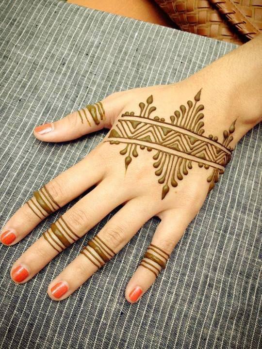 Stripey Simple Mehndi Designs For Fingers Aaa Henna Tats Henna