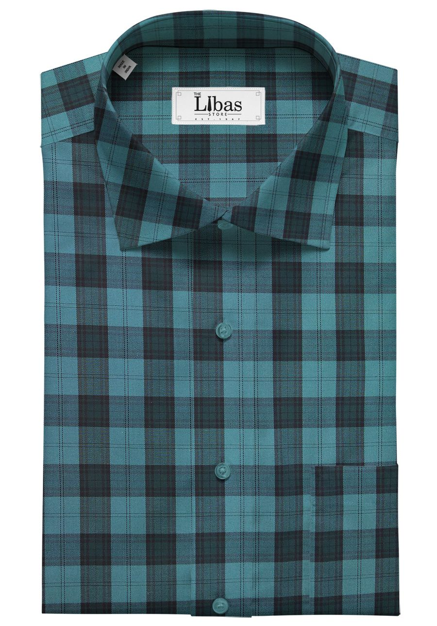 e0622bd1 Monza Men's Dark Firozi Blue 100% Superfine Cotton Broad Checks Shirt Fabric  (1.60 M