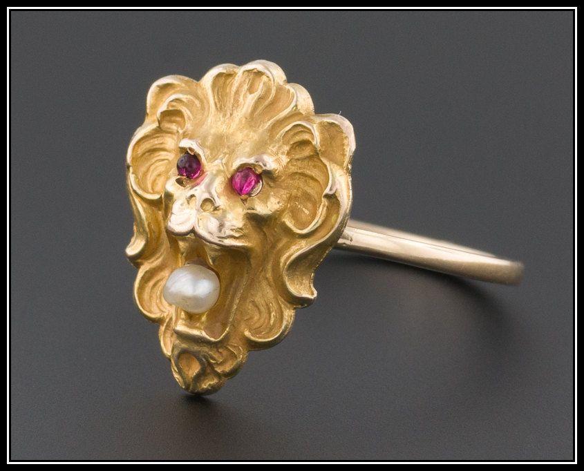Antique Lion Ring, 14k Gold & Pearl