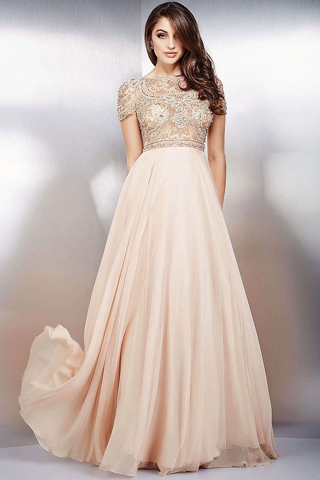 2284de46580868 Elegant champagne cap sleeves and boat neck fully beaded bodice with empire  waist chiffon skirt dress available in dark grey