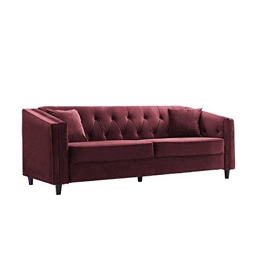 Amazon Com 9 By Novogratz Vintage Tufted Sofa Sleeper Ii Burgundy