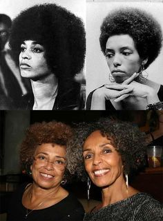 Angela Davis and her sister Fania Davis Jordan - then and now - at last night's premiere for Free Angela!