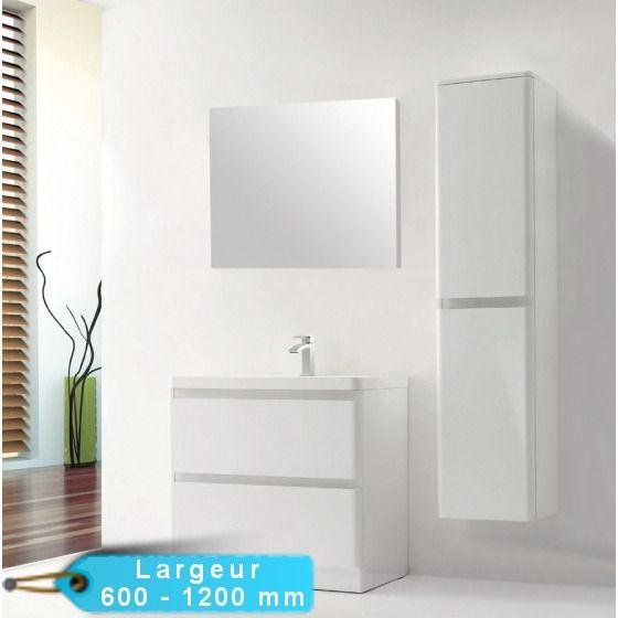 kit meuble salle de bain au sol rondo en 900 et 1200 mm avec son miroir meuble en mdf amortisseurs pour fermeture silencieuse soft close blum - Sol Salle De Bain Pas Cher