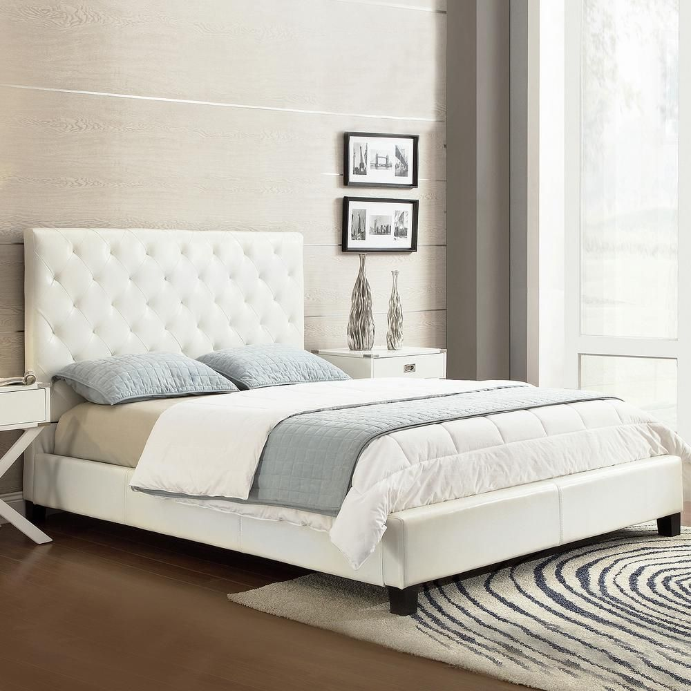 Homesullivan Calais White Queen Upholstered Bed 40886b522w 3a Bed