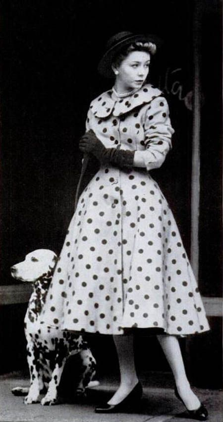 Polka dot New Look coat dress from Life magazine 1954, with a spotted dog to match!