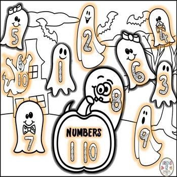 Halloween themed numbers 1-10  in English.  Great for beginning ELLs ! Created…
