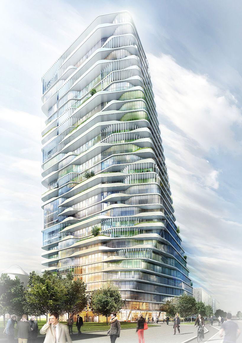 gr ntuch ernst architekten 39 s layered scheme wins porsche residential tower competition tower. Black Bedroom Furniture Sets. Home Design Ideas