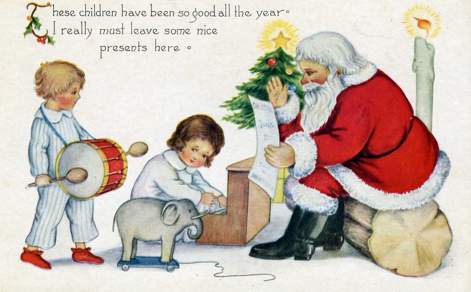 Vintage Card: Santa and Children