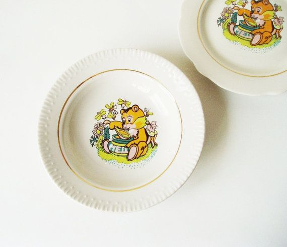 Vintage children plate Set of 2 Soviet Crockery USSR Ceramic Bowl fine china Bear and honey Yellow Bees : ceramic childrens plates - pezcame.com
