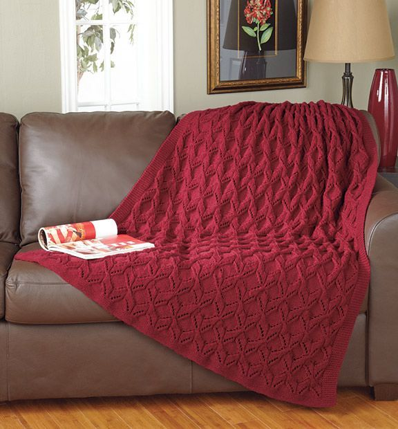 Mary Maxim - Crimson Comfort Throw   Knitted afghans ...