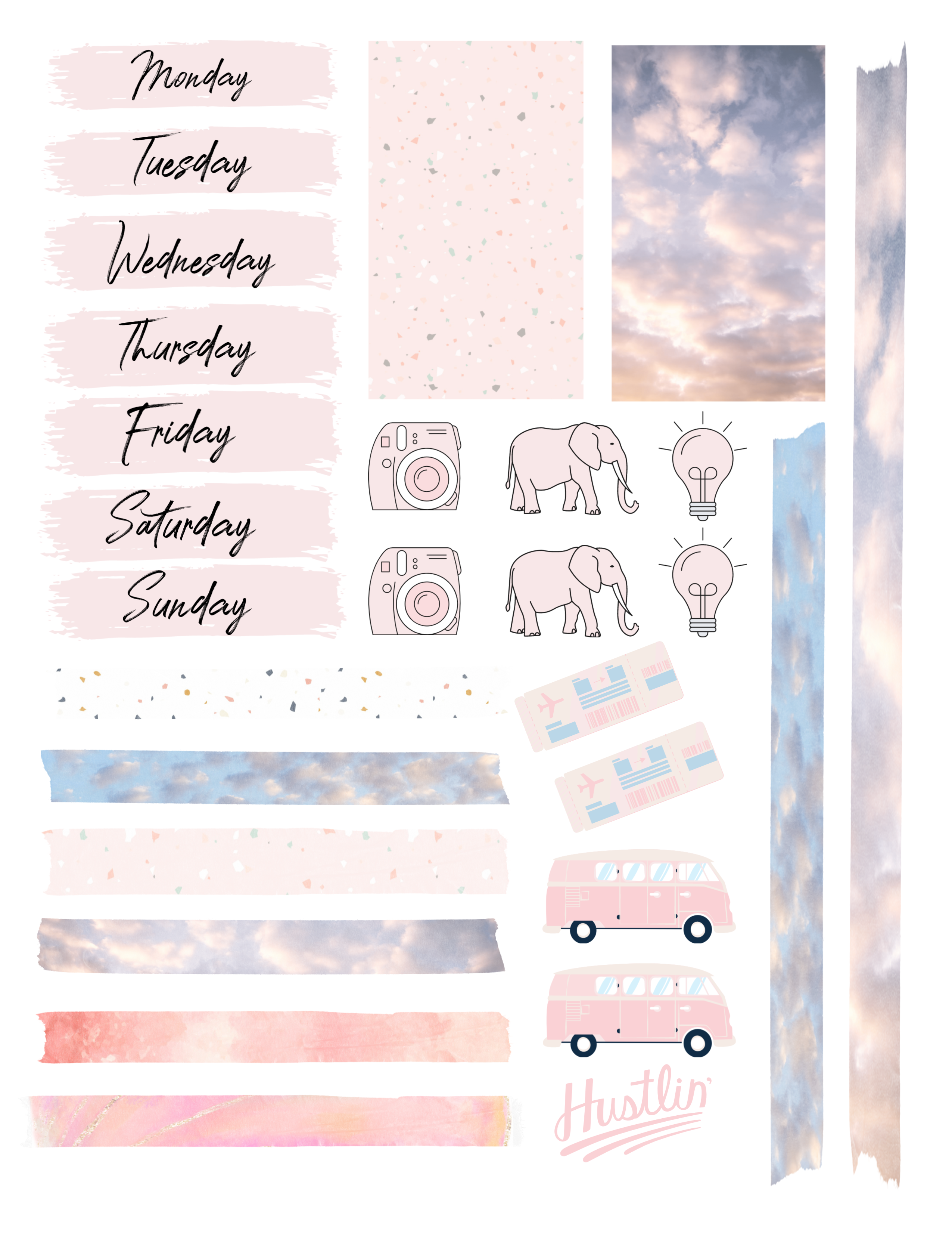 Free Printable Pink Bullet Journal Kit In 2020 Bullet Journal Stickers Bullet Journal Free Printables Scrapbook Stickers Printable