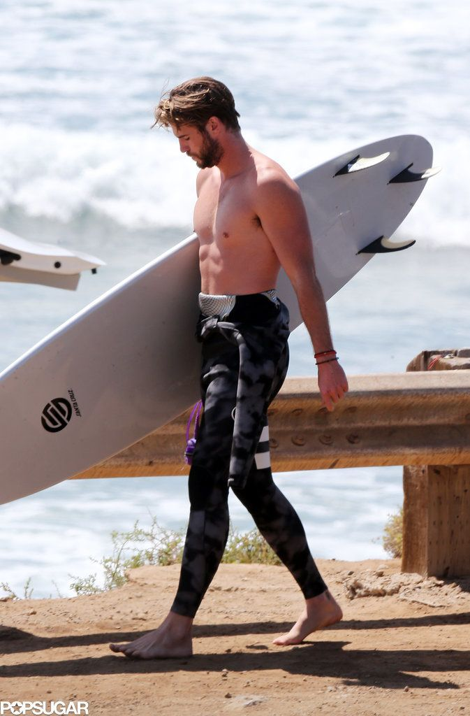Liam Hemsworth looking really, really good after an LA surf session.