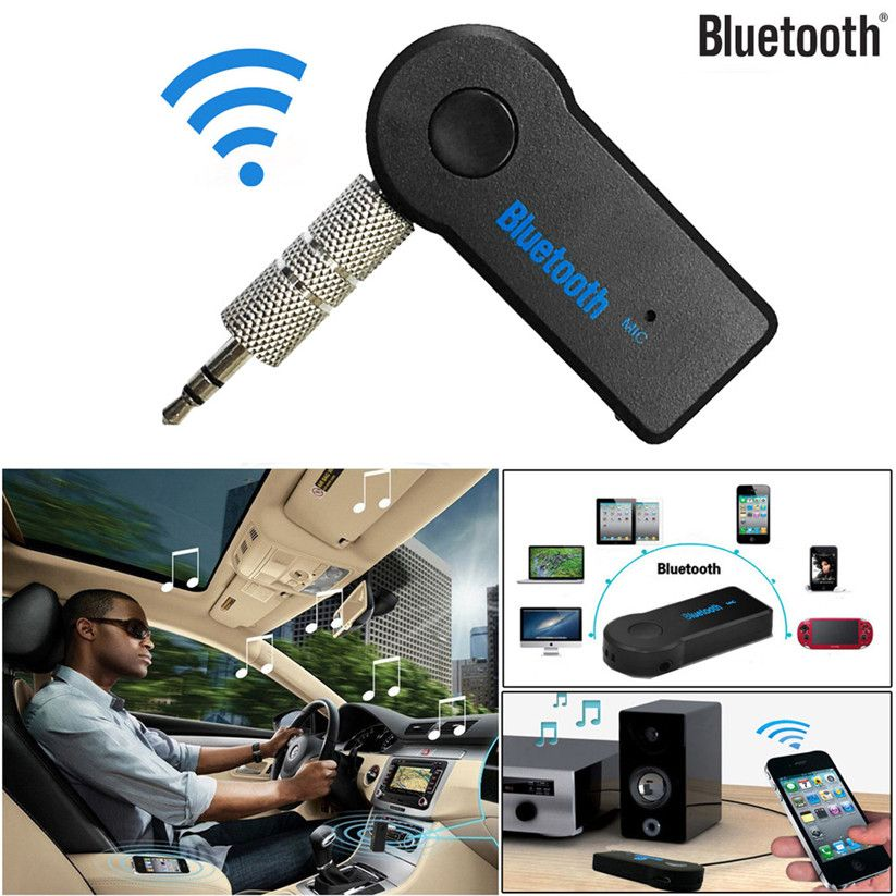 Bluetooth inalámbrico Adaptador de 3.5mm AUX Audio Estéreo Receptor de Música Inicio Alquiler Mic Januar11