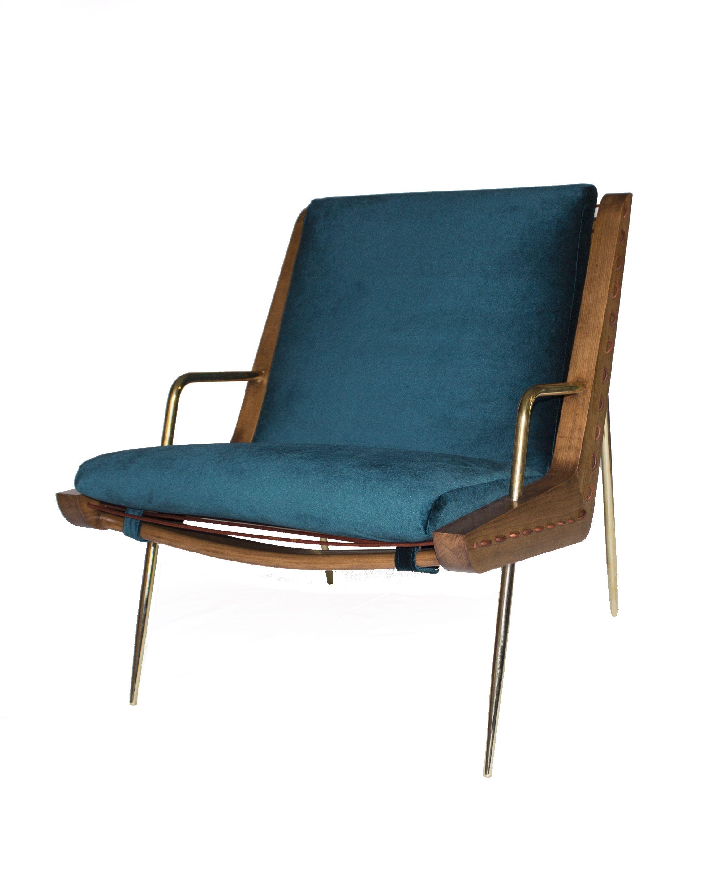 Leon Leon Design Walt Chair Maple Wood Brass Blue Velvet