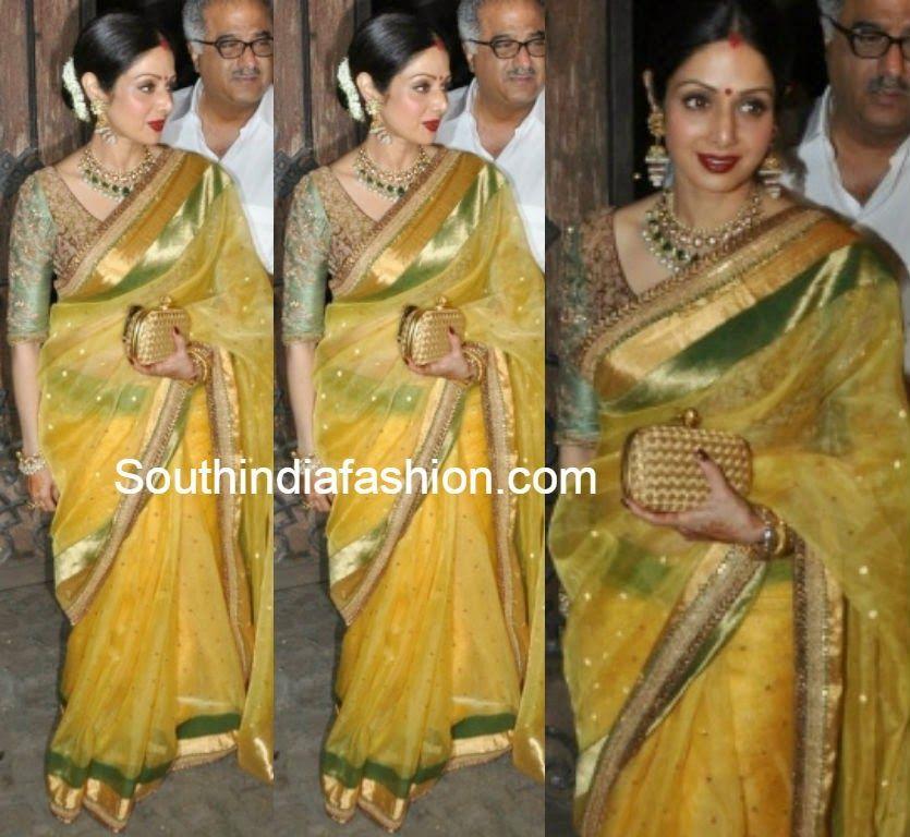 Sridevi Kapoor In Sabyasachi Saree South India Fashion Mother Of Groom Outfits Sabyasachi Sarees Wedding Saree Indian