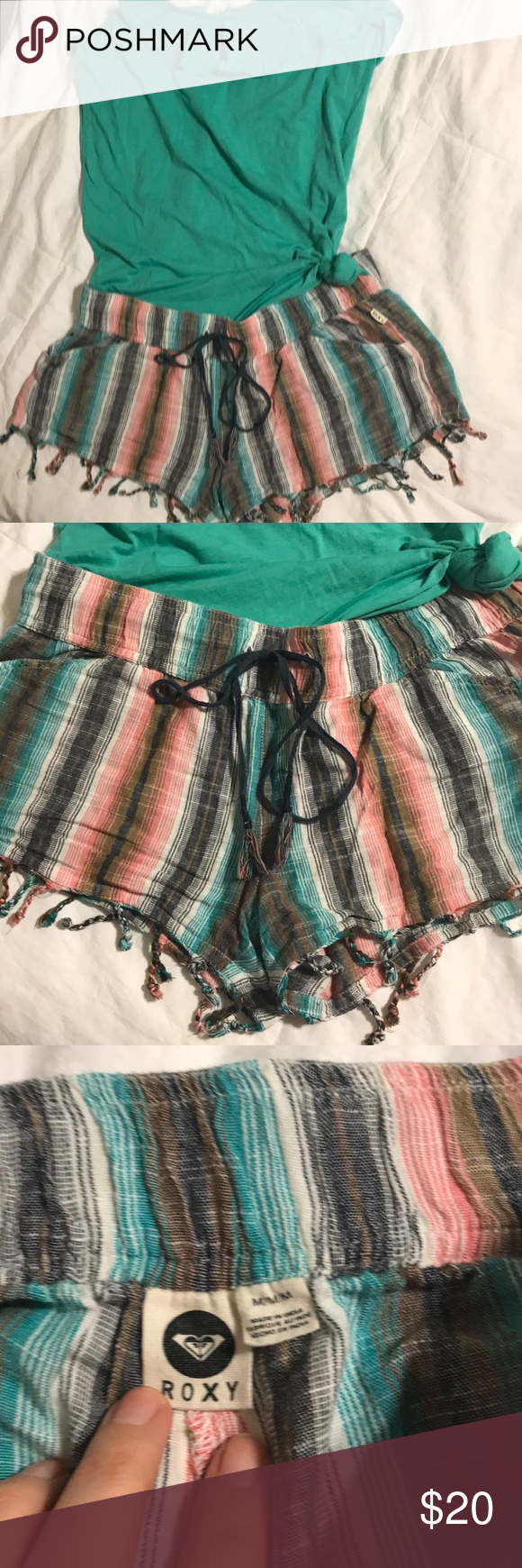 Super RARE cute Roxy shorts! These are rare! I got them at a boutique in austin tx that only buys 40 of each item. They are so cute and I love them and hate to part with them but they are just too small for me now :( Has been worn a few times but have so much life and no signs of pulling at all! They are 100% cotton but have a linen feel and look to them! Shorts