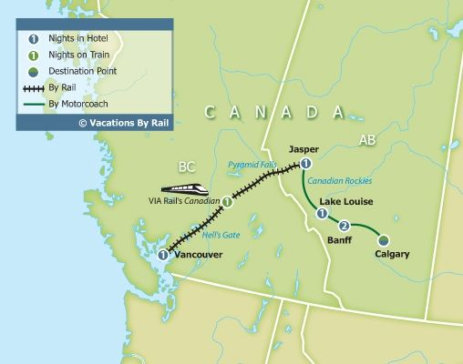 Canadian Rockies by Rail Vancouver to Calgary Vacations By Rail