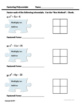 Factoring Polynomials Box Method Puzzles 2 Problem Sets See Video Too Polynomials Factoring Polynomials Problem Set