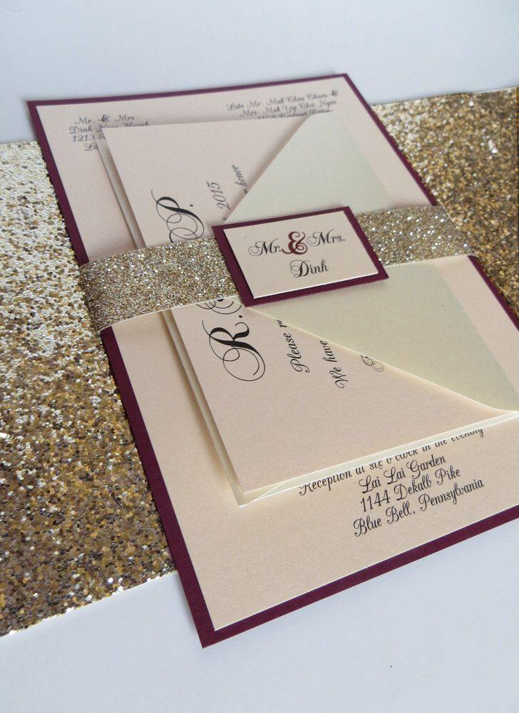 burgundy wedding invitation with glitter ribbon belly band, Wedding invitations