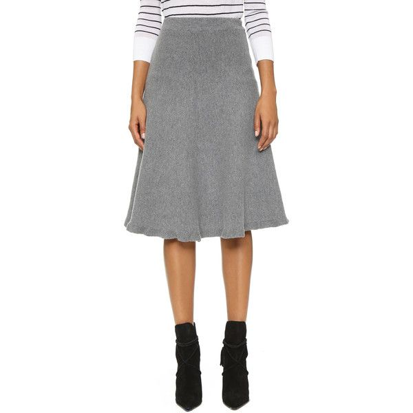 J.O.A. Knit Full Skirt (77.980 CLP) ❤ liked on Polyvore featuring skirts, grey, gray skirt, elastic waist skirt, grey skirt, knit skirt and grey knit skirt