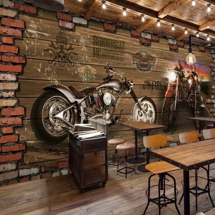 Wallpaper 3d Mural Vintage Motorcycle Car Art Wall Murals Decals Prints Decor Fatman Vintageretro Brick Wallpaper Restaurant Cafe Interior Design Retro Cafe