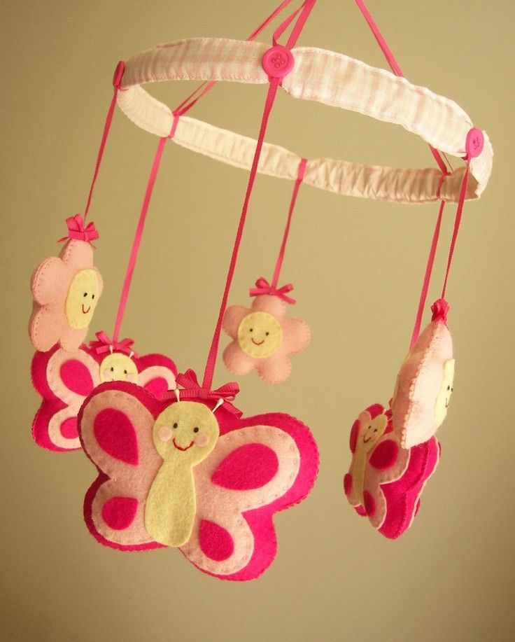 Diy felt butterfly animal baby mobiles with flowers kids for Diy felt flower mobile