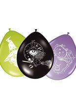 8 Luftballons Hexe Halloween-Deko lila-schwarz-grün