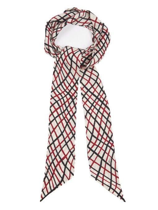 e965bc5b52c Gucci Wave check-print skinny scarf