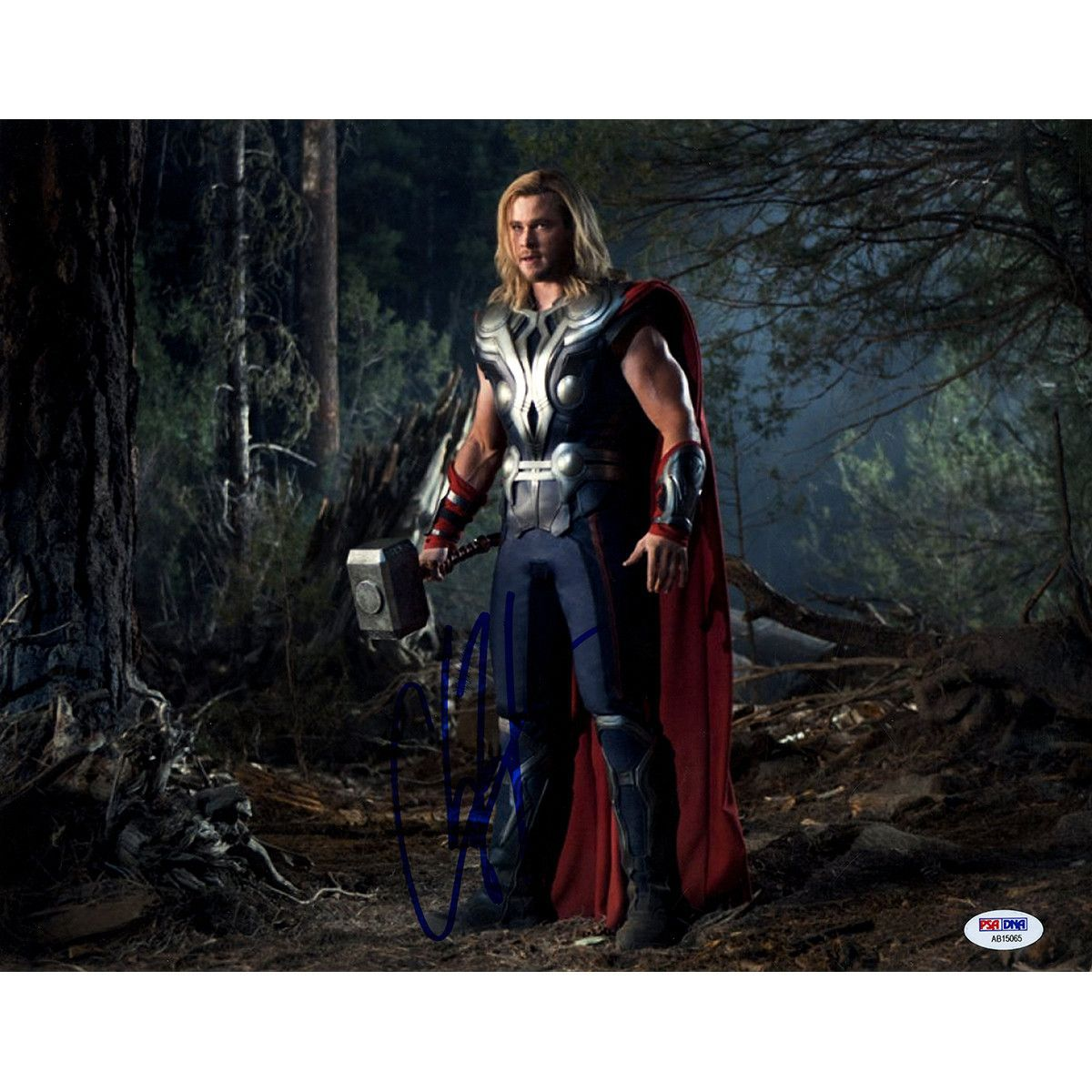 Chris Hemsworth Signed 11x14 Thor Photo Horizontal in Forest (PSA/DNA)