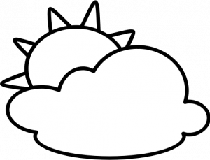 Outline Symbol For Partly Cloudy Sky Vector Illustration Black And White Drawing Black And White Clouds Butterfly Wallpaper Backgrounds