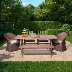 Threshold™ Holden 6-Piece Metal/Wicker Rectangular Patio Dining Furniture Set - Tan