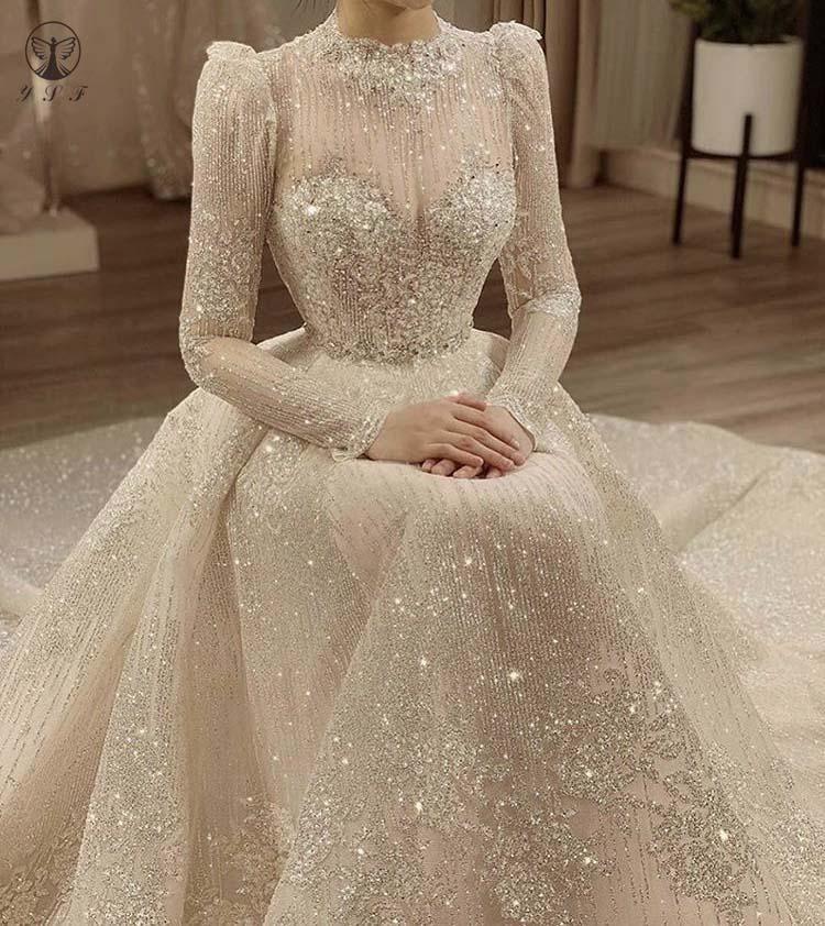 Photo of Vintage Vestidos De Novias High Collar O Neck Bling Bling Glitter Fabric Long Sleeve Ball Gown Muslim Wedding Dresses