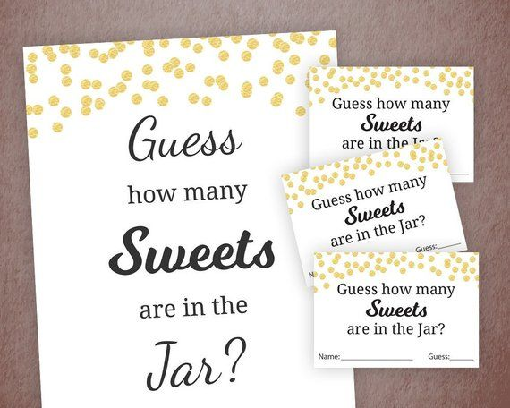 Sweets Guessing Game, Baby Shower Games Printable, Gold Confetti