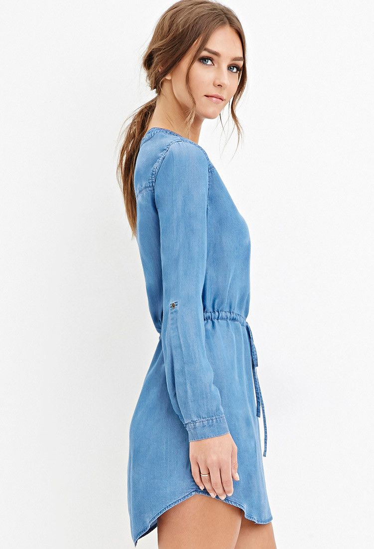 Drawstring Chambray Dress | Forever 21 - 2000163106 | Style ...