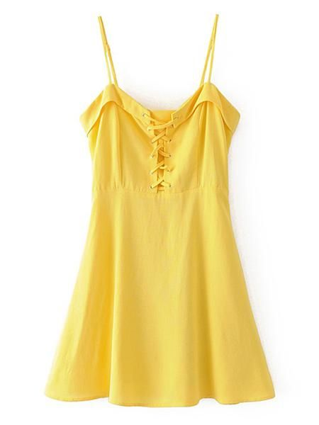 a211acdf49 Plain Yellow Sleeveless A LIne Cami Straps Lace Up Grommet Mini Dress
