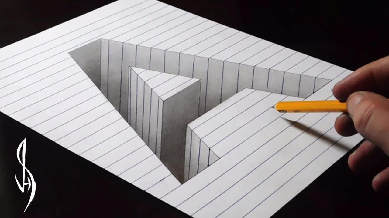 Drawing a hole in line paper 3d trick art youtube