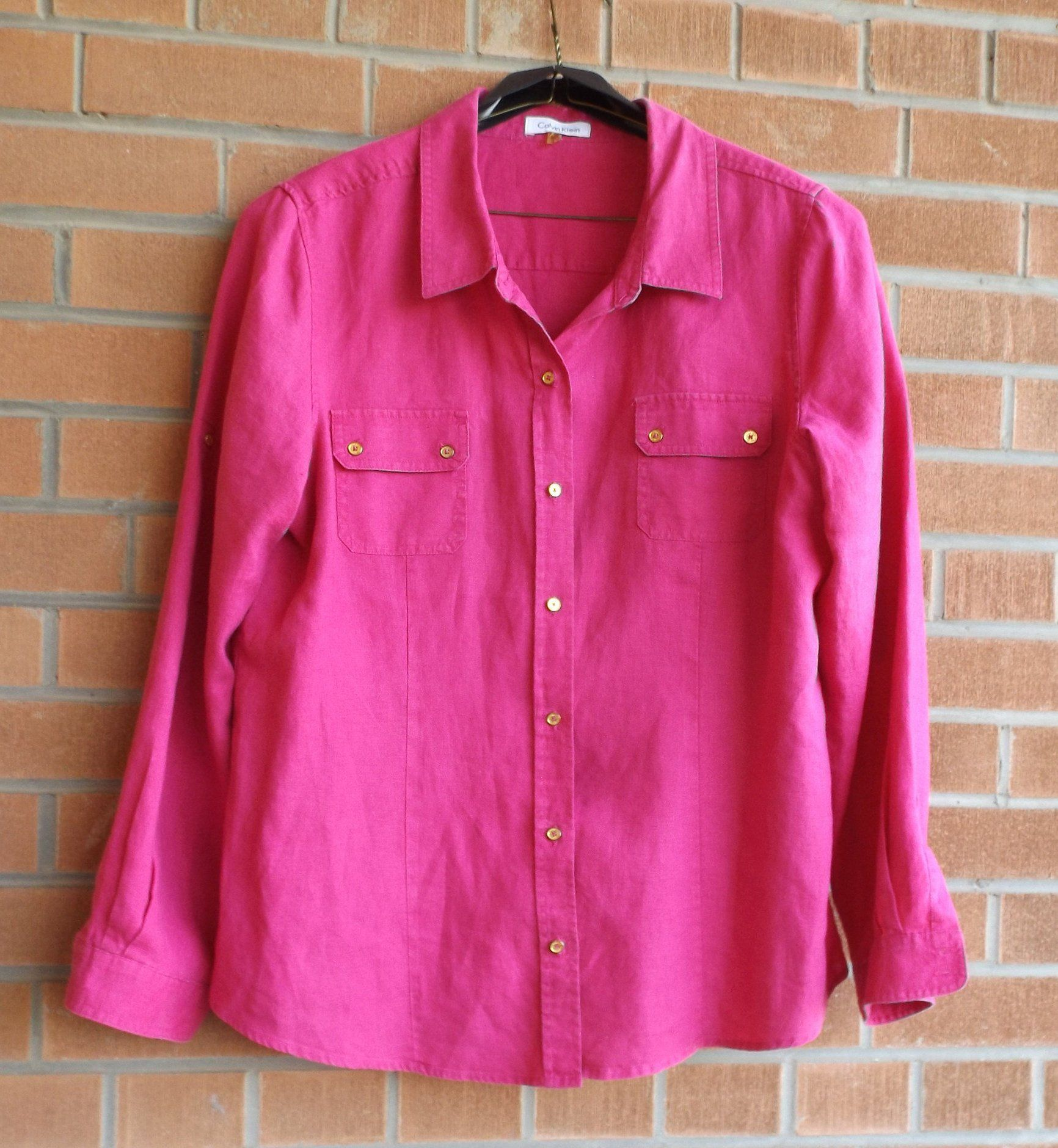 Linen Blouse Fuchsia Pink Purple Blouse Summer Vacation Blouse Calvin Klein Button Down Roll Sleeve Shirt How To Roll Sleeves Red Blouses Linen Blouse