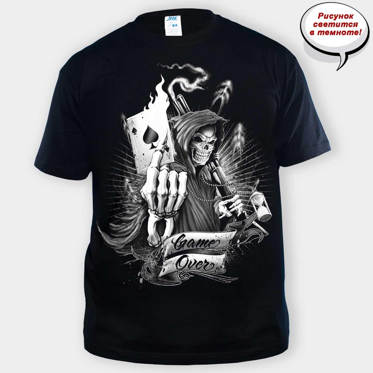 f3669647f173e Мужская футболка с черепом Game Over. Размеры: S, L ,M, L, XL, 2XL. Футболки.  Мужские футболки. Футболки с принтом. Футболки с черепами