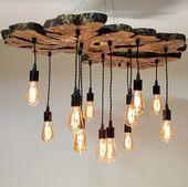 Live edge olive wood chandelier