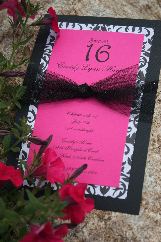 Fuchsia Black White Sweet 16 Birthday Invitations 250 Via Etsy