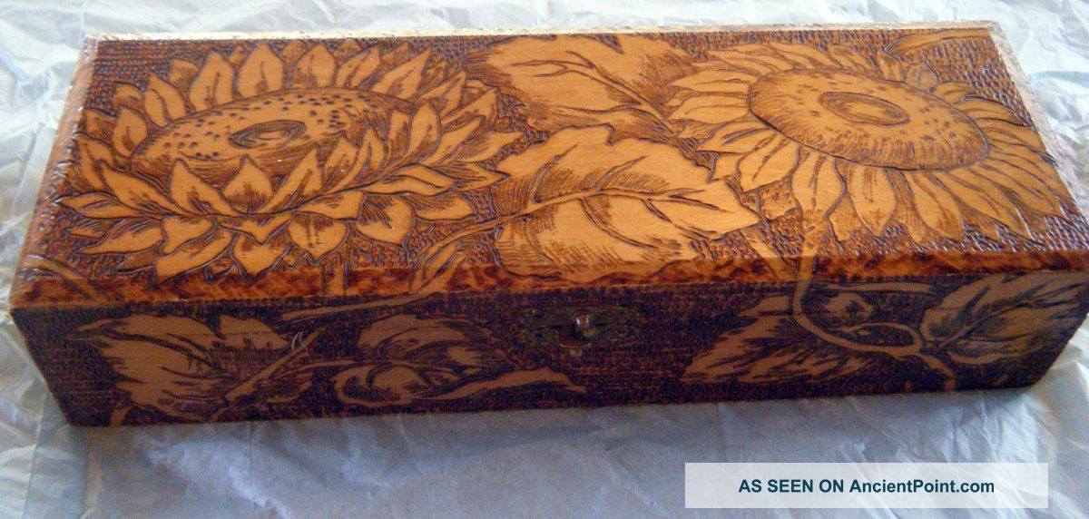 ancientpoint.com pyrography   Vintage Pyrography Wooden Glove Box ...