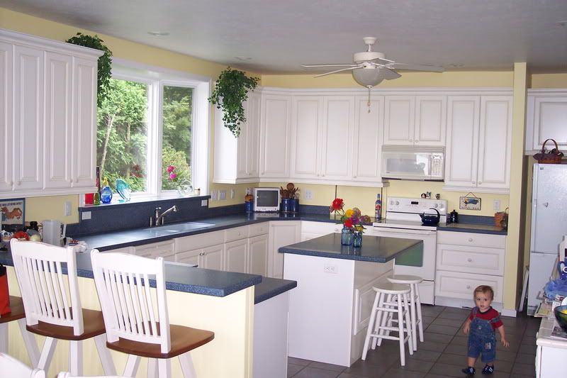 Pictures of kitchens with yellow walls white cabinets and for Blue kitchen cabinets with yellow walls