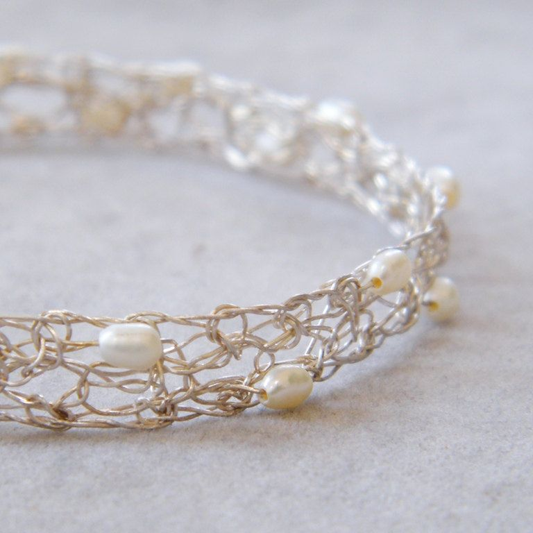 Crochet Sterling Silver Wire and Pearls Princess Bracelet, Crochet ...