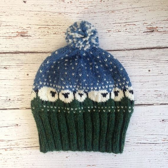 Wool Sheep Hat Fairisle Knit Hat Wool Fairisle Hand by AuntHenri ...